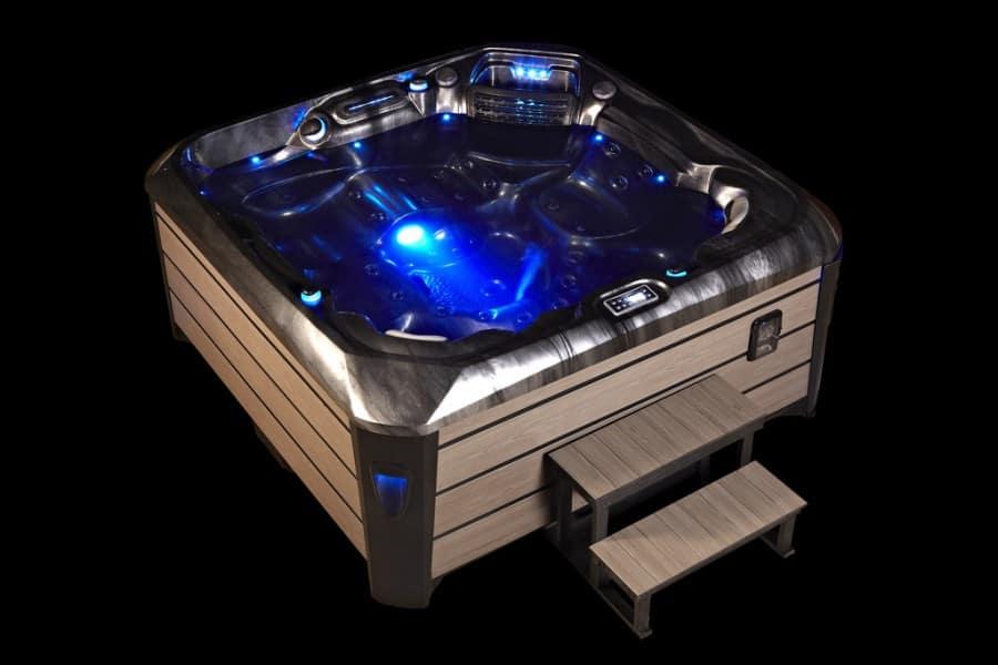 Platinum Spas Santorini Hot Tub - Night Exterior LED Lighting